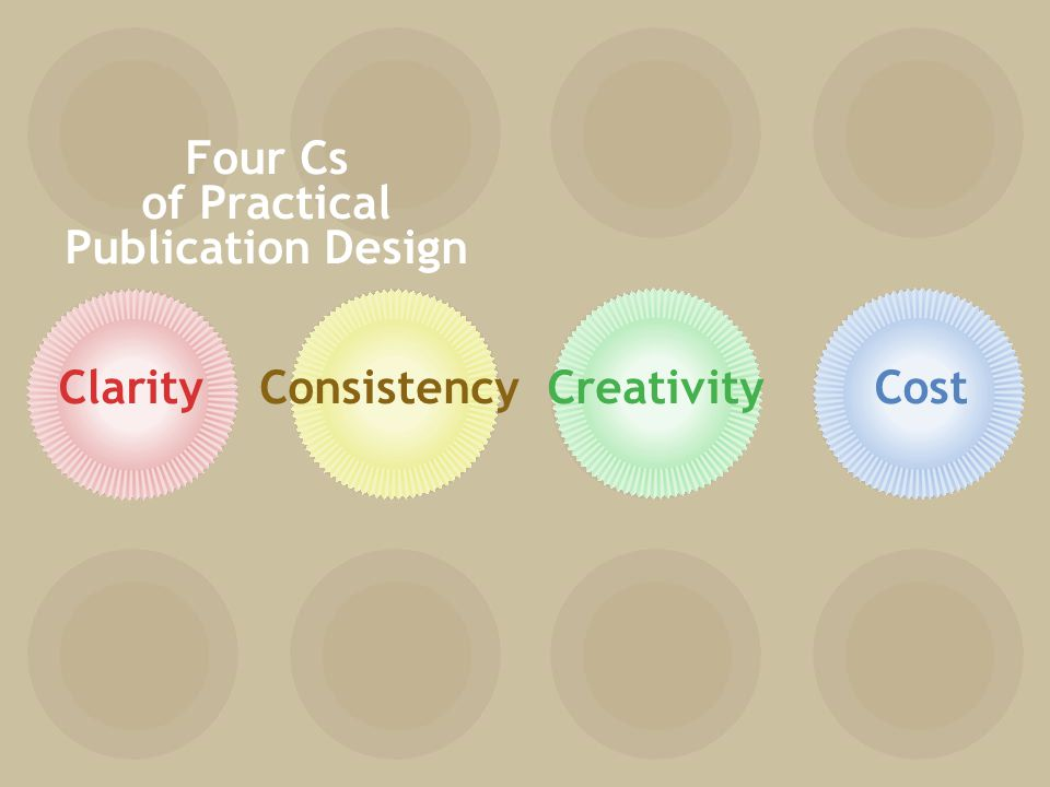 ClarityConsistencyCreativityCost Four Cs of Practical Publication Design