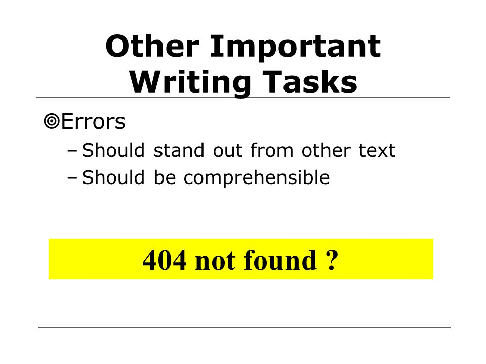 Other Important Writing Tasks  Errors –Should stand out from other text –Should be comprehensible 404 not found