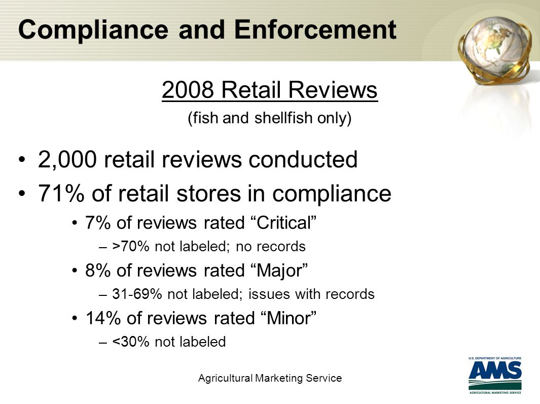 Compliance and Enforcement 2008 Retail Reviews (fish and shellfish only) 2,000 retail reviews conducted 71% of retail stores in compliance 7% of reviews rated Critical –>70% not labeled; no records 8% of reviews rated Major –31-69% not labeled; issues with records 14% of reviews rated Minor –<30% not labeled Agricultural Marketing Service