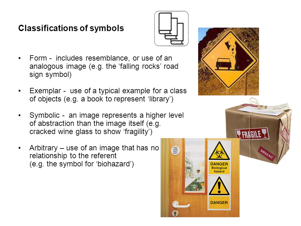 Classifications of symbols Form - includes resemblance, or use of an analogous image (e.g.