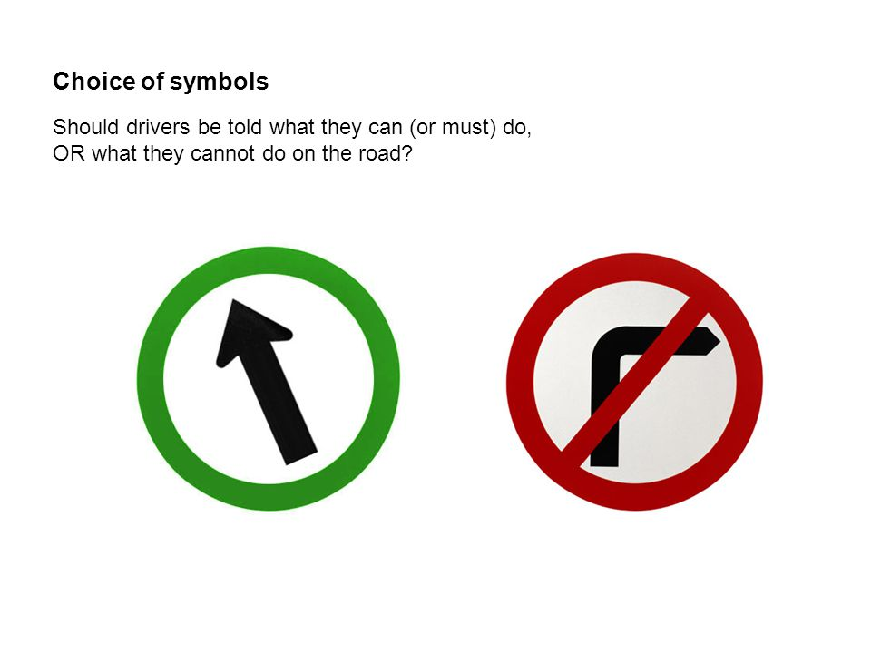 Choice of symbols Should drivers be told what they can (or must) do, OR what they cannot do on the road?