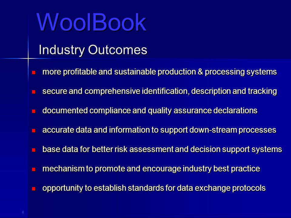 5 Industry Outcomes more profitable and sustainable production & processing systems more profitable and sustainable production & processing systems se