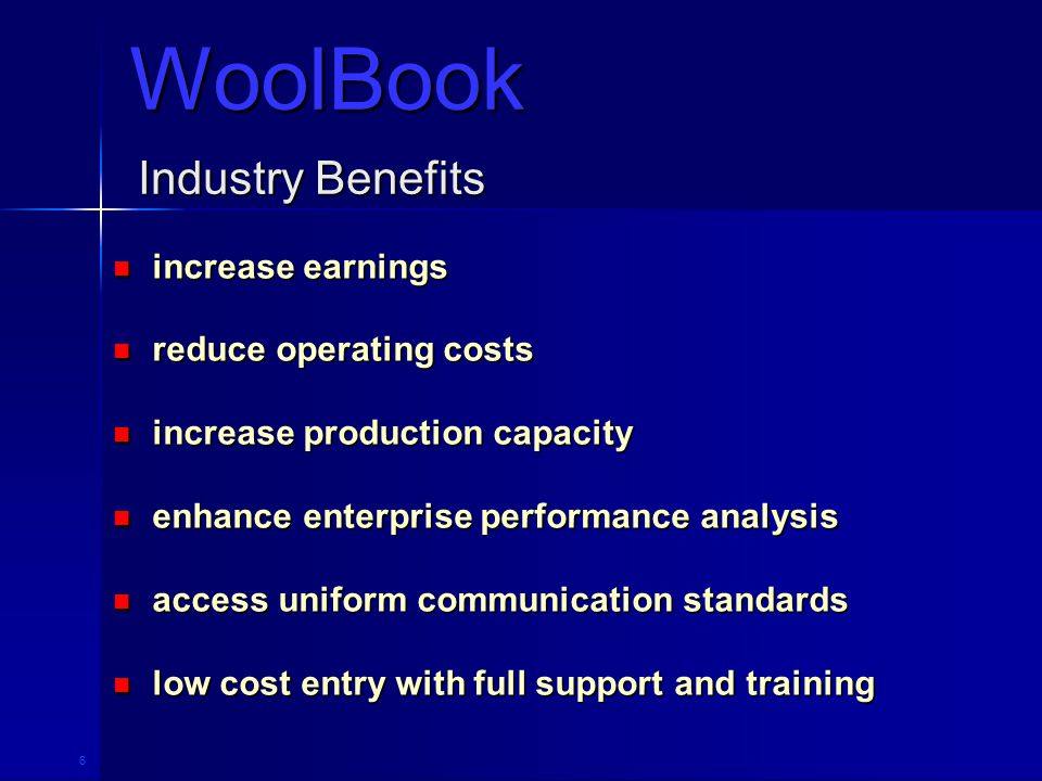 27 Industry Benefits increase earnings increase earnings reduce operating costs reduce operating costs increase production capacity increase production capacity enhance enterprise performance analysis enhance enterprise performance analysis access uniform communication standards access uniform communication standards low cost entry with full support and training low cost entry with full support and training WoolBook
