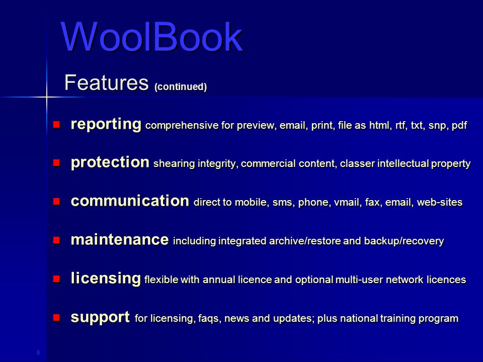 9 Communications WoolBook Direct Access To Information Technologies www.woolbook.com Internet Ready And Web Aware