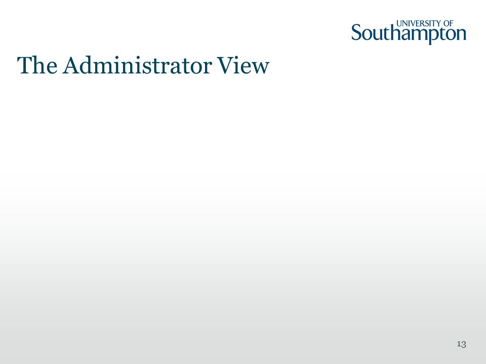 The Administrator View 13