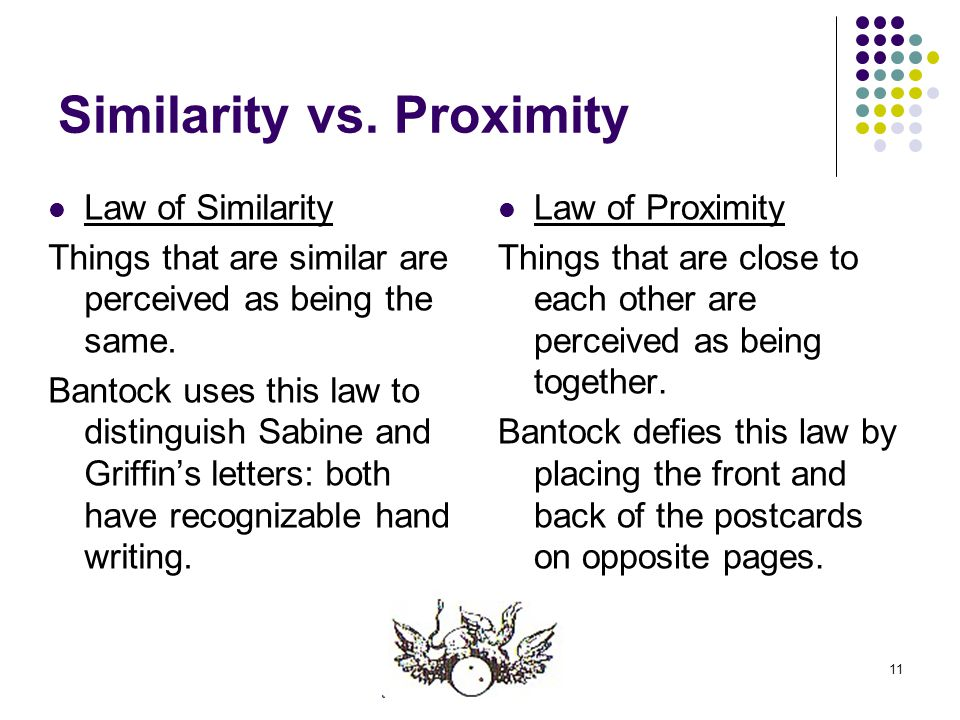 11 Similarity vs. Proximity Law of Similarity Things that are similar are perceived as being the same. Bantock uses this law to distinguish Sabine and
