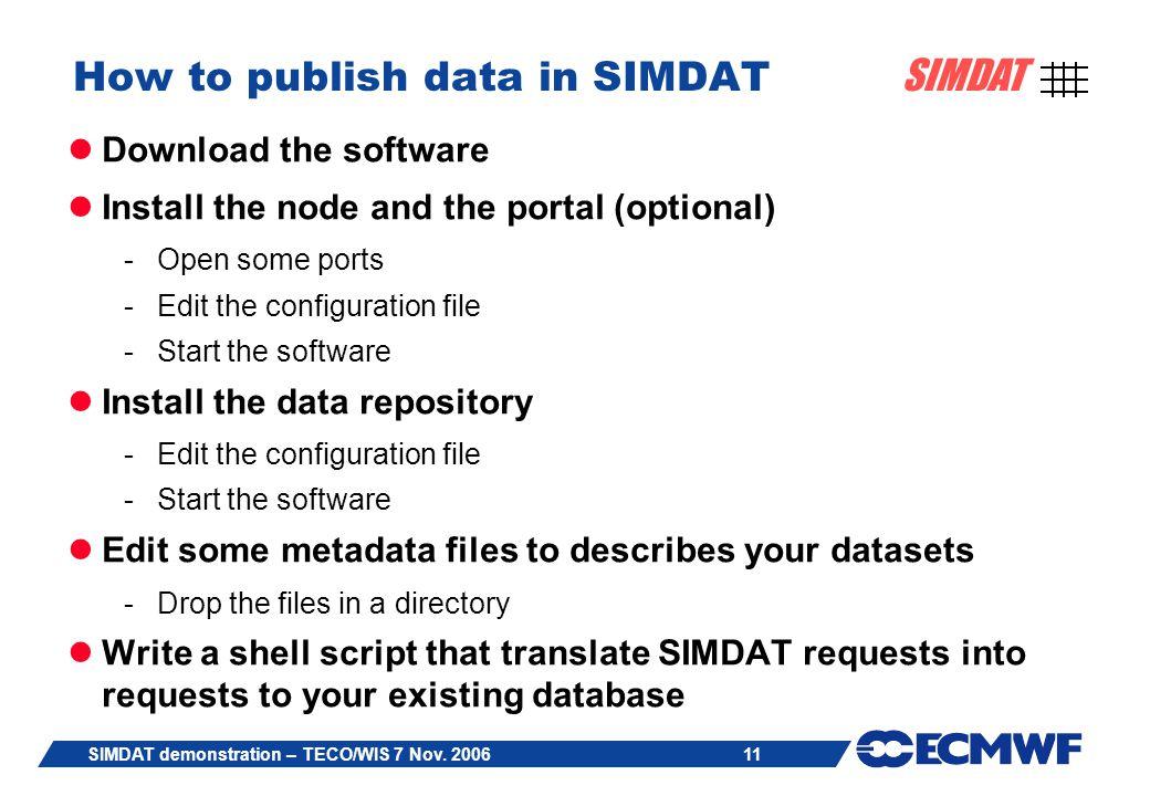 11 SIMDAT SIMDAT demonstration – TECO/WIS 7 Nov.