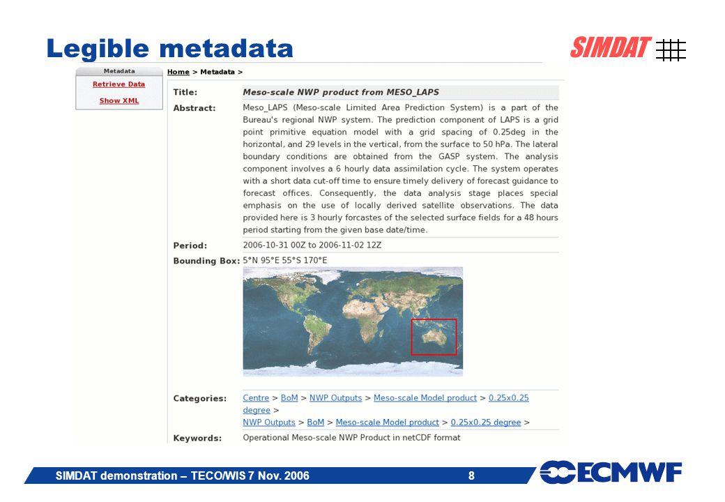 8 SIMDAT SIMDAT demonstration – TECO/WIS 7 Nov. 2006 Legible metadata