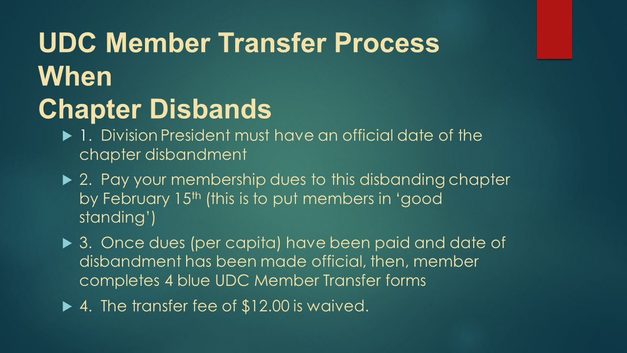 UDC Member Transfer Process When Chapter Disbands  1.