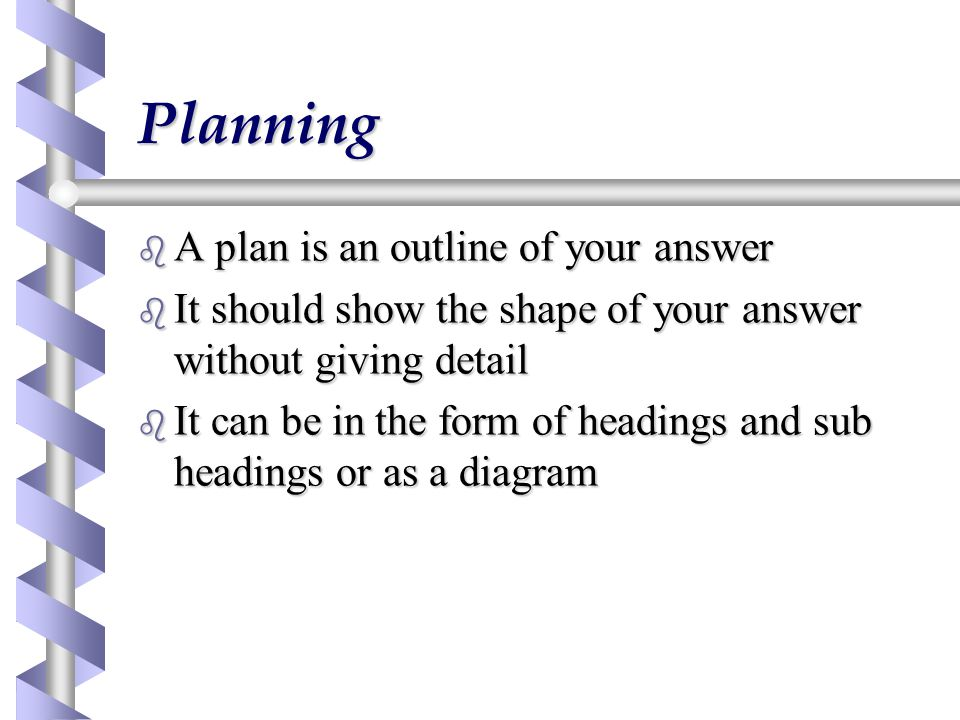 Sample plan 1 b Title b Introduction b Main argument  evidence for  evidence against  evaluation of evidence b Other issues b Conclusion