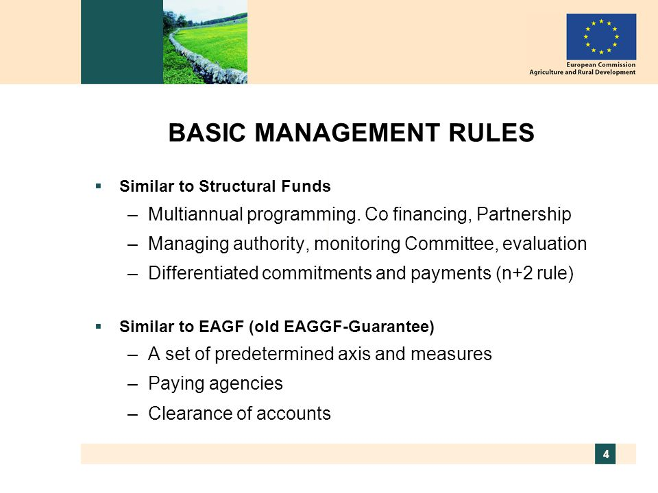 5 LEGAL FRAMEWORK FOR RURAL DEVELOPMENT 2007-2013 Financing the CAP  Council Regulation 1290/2005 Commission Regulation 883/2006 on keeping of accounts by the paying agencies and declarations of expenditure Commission Regulation 885/2006 on accreditation and clearance of accounts.