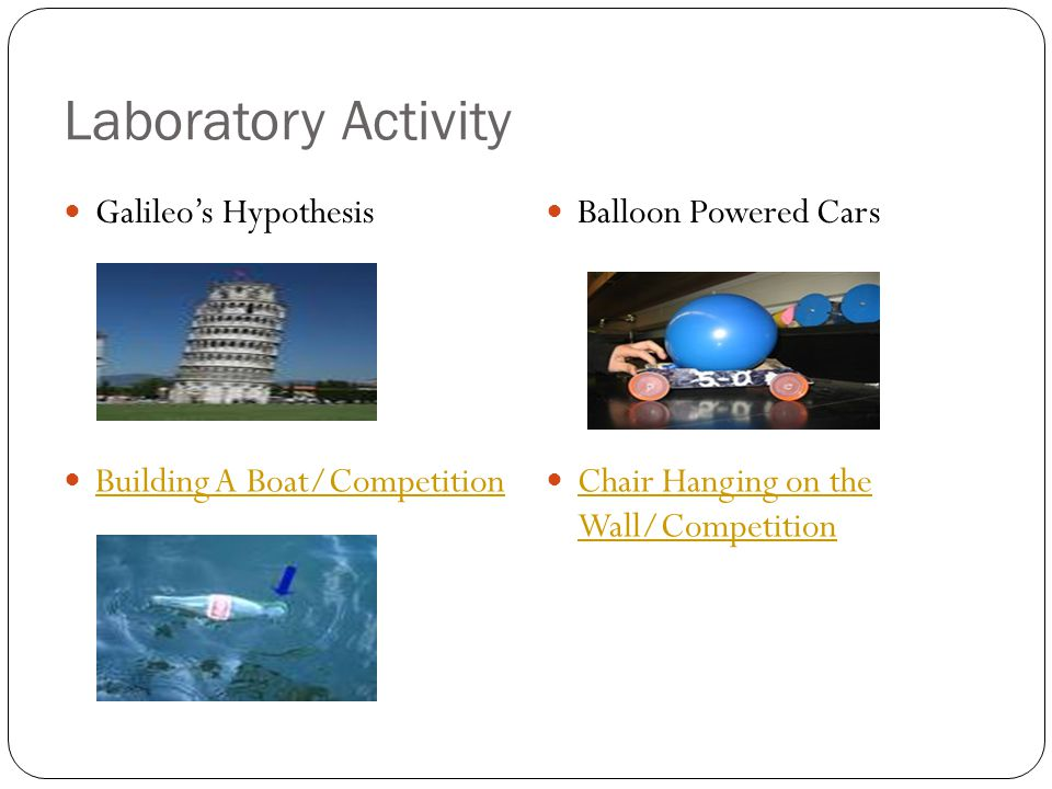 Laboratory Activity Galileo's Hypothesis Balloon Powered Cars Building A Boat/Competition Chair Hanging on the Wall/Competition Chair Hanging on the Wall/Competition