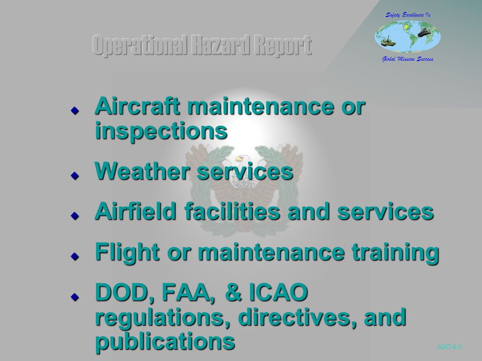 ASO-8-36 Safety Excellence Is Global Mission Success Strengthen the foundation of aviation human factors safety research Strengthen the foundation of aviation human factors safety research