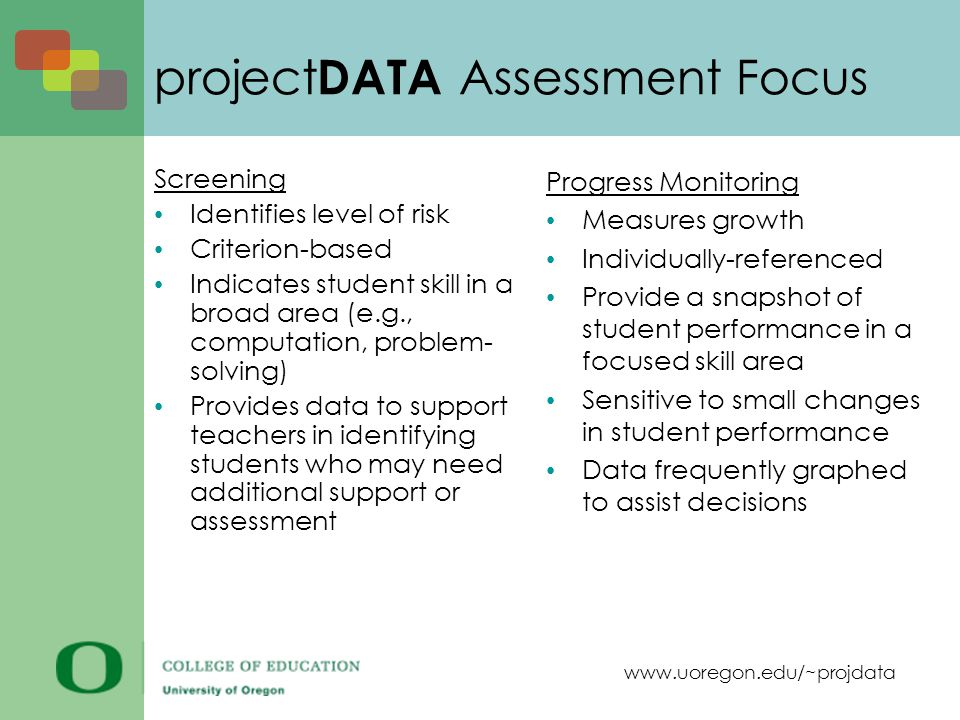 www.uoregon.edu/~projdata project DATA Assessment Focus Screening Identifies level of risk Criterion-based Indicates student skill in a broad area (e.g., computation, problem- solving) Provides data to support teachers in identifying students who may need additional support or assessment Progress Monitoring Measures growth Individually-referenced Provide a snapshot of student performance in a focused skill area Sensitive to small changes in student performance Data frequently graphed to assist decisions