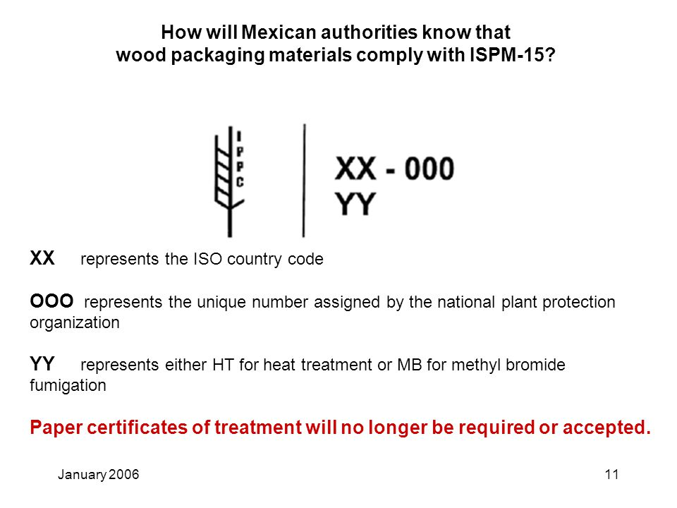 January 200611 How will Mexican authorities know that wood packaging materials comply with ISPM-15? Paper certificates of treatment will no longer be