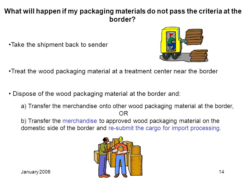 January 200614 What will happen if my packaging materials do not pass the criteria at the border.