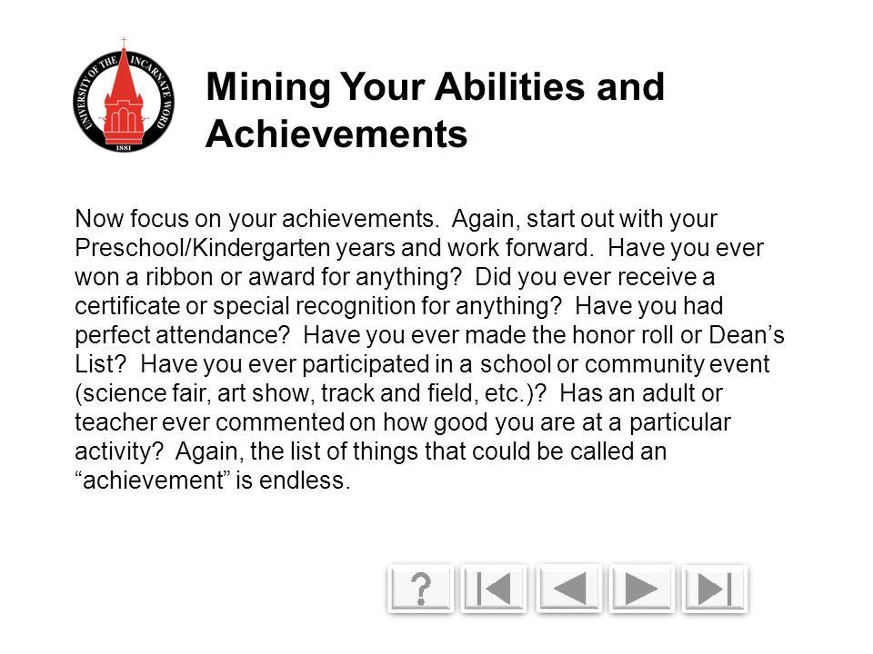 Now focus on your achievements.