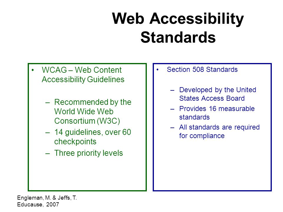 Engleman, M. & Jeffs, T. Educause, 2007 Web Accessibility Standards WCAG – Web Content Accessibility Guidelines –Recommended by the World Wide Web Con