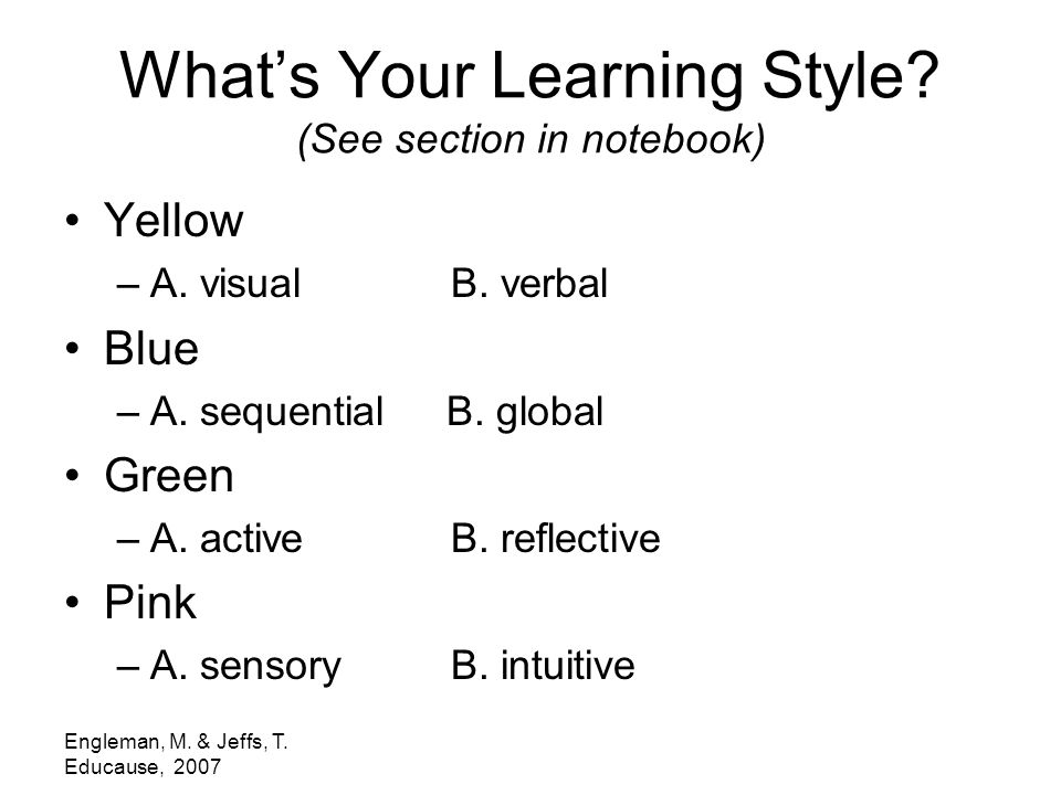 Engleman, M. & Jeffs, T. Educause, 2007 What's Your Learning Style.