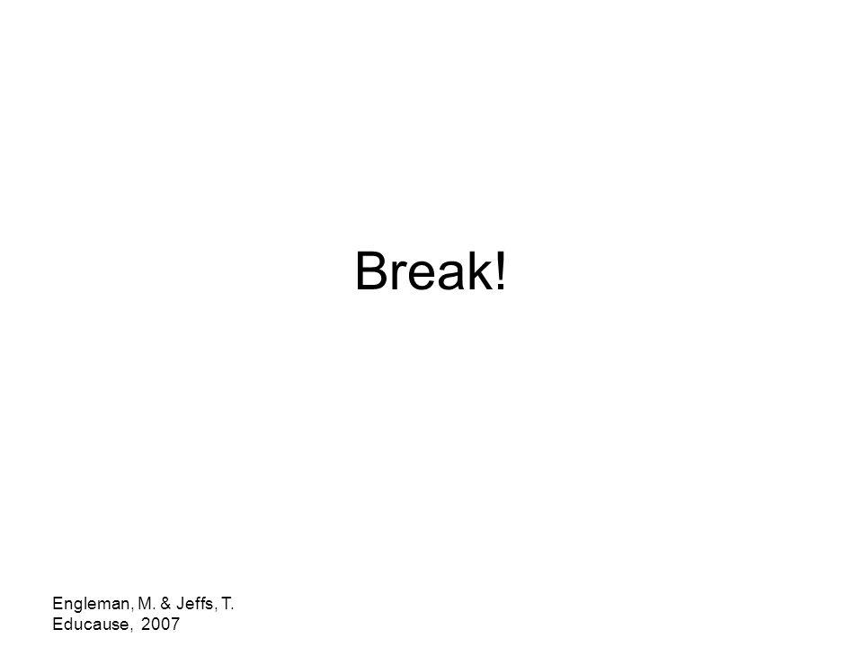 Engleman, M. & Jeffs, T. Educause, 2007 Break!