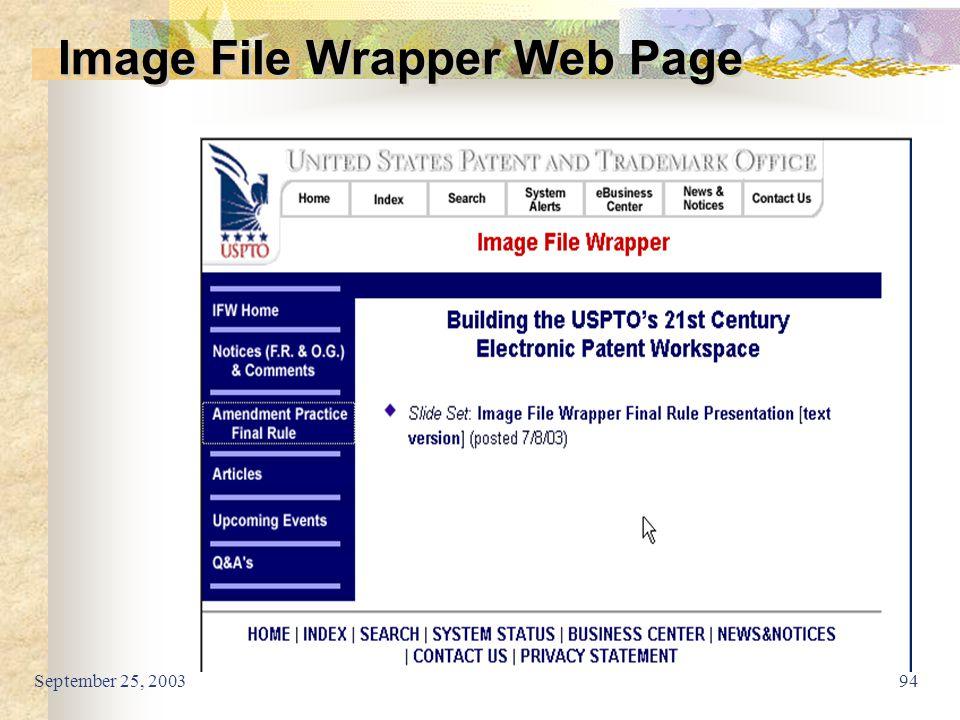 September 25, 200394 Image File Wrapper Web Page