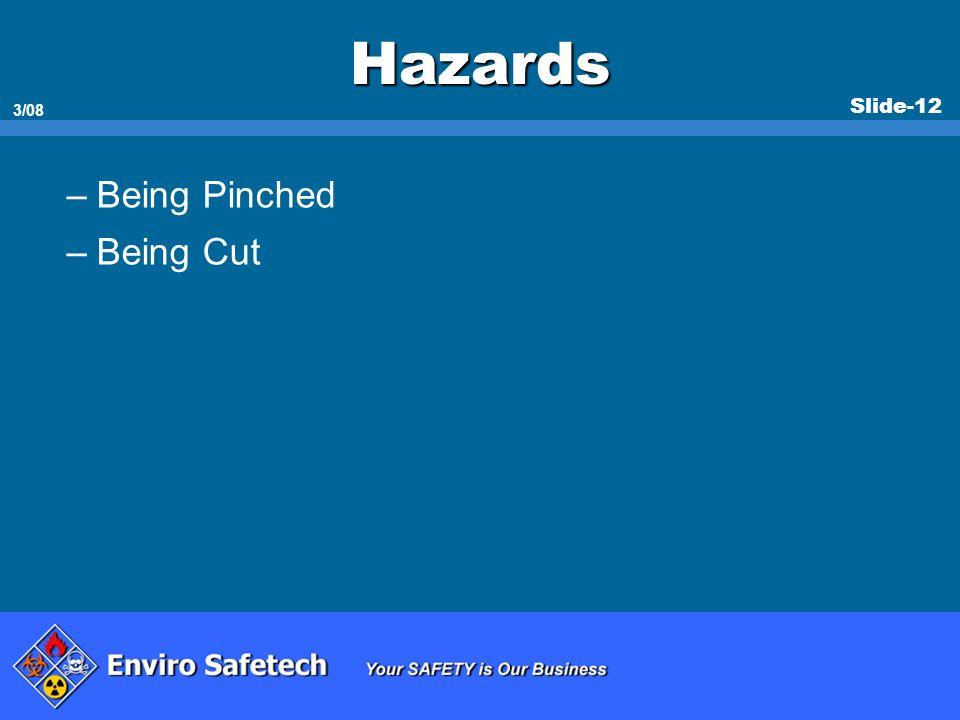 Slide-12 3/08 Hazards –Being Pinched –Being Cut