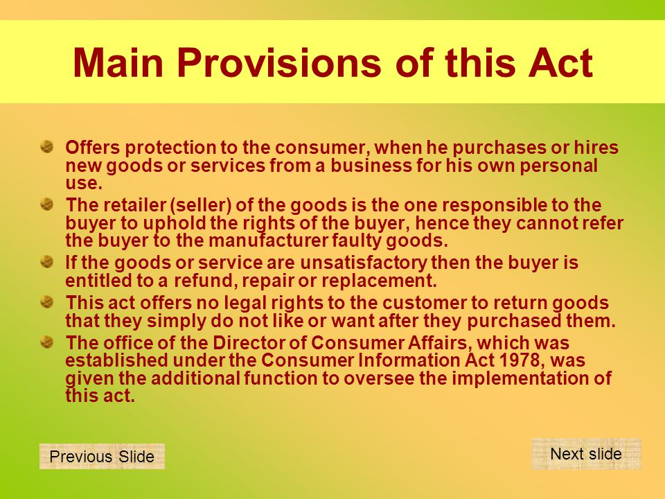 Rights of the buyer of goods Goods should be as described.