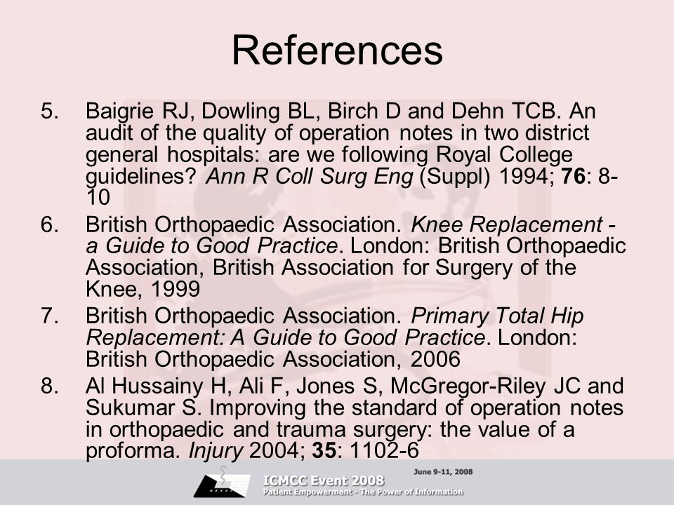 References 5.Baigrie RJ, Dowling BL, Birch D and Dehn TCB.