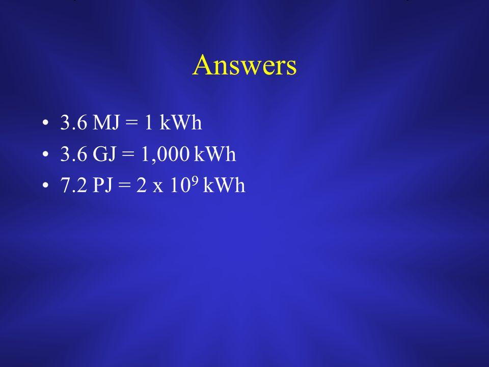 Answers 3.6 MJ = 1 kWh 3.6 GJ = 1,000 kWh 7.2 PJ = 2 x 10 9 kWh