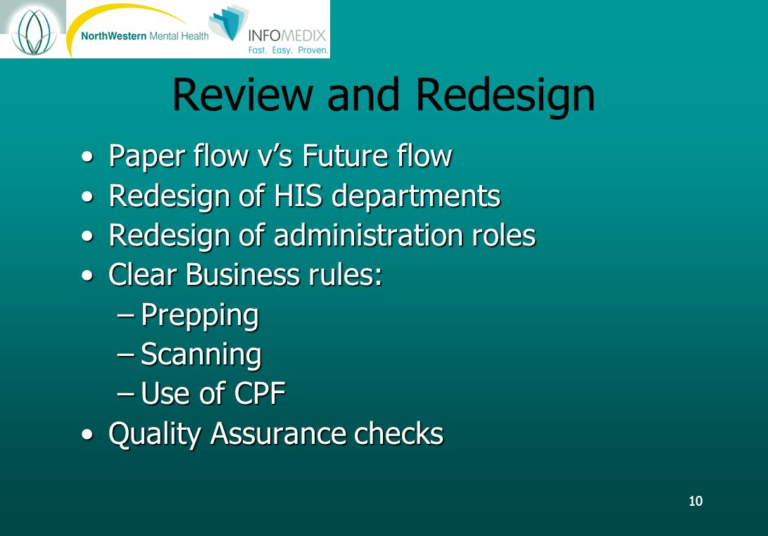 10 Review and Redesign Paper flow v's Future flowPaper flow v's Future flow Redesign of HIS departmentsRedesign of HIS departments Redesign of administration rolesRedesign of administration roles Clear Business rules:Clear Business rules: –Prepping –Scanning –Use of CPF Quality Assurance checksQuality Assurance checks