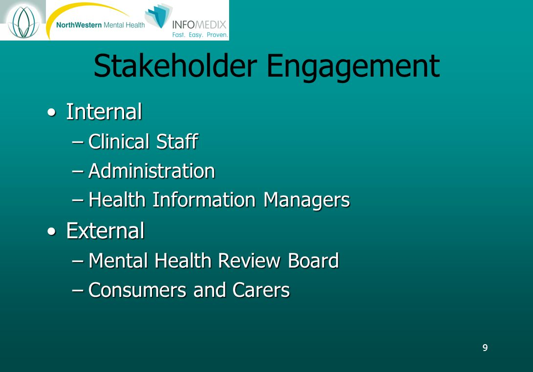 9 Stakeholder Engagement InternalInternal –Clinical Staff –Administration –Health Information Managers ExternalExternal –Mental Health Review Board –Consumers and Carers