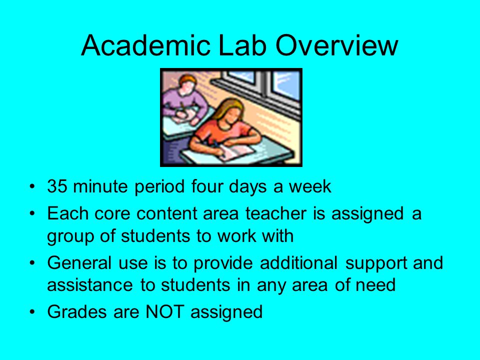 Academic Lab Overview 35 minute period four days a week Each core content area teacher is assigned a group of students to work with General use is to provide additional support and assistance to students in any area of need Grades are NOT assigned
