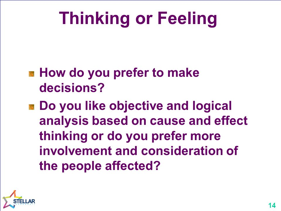 14 Thinking or Feeling How do you prefer to make decisions.