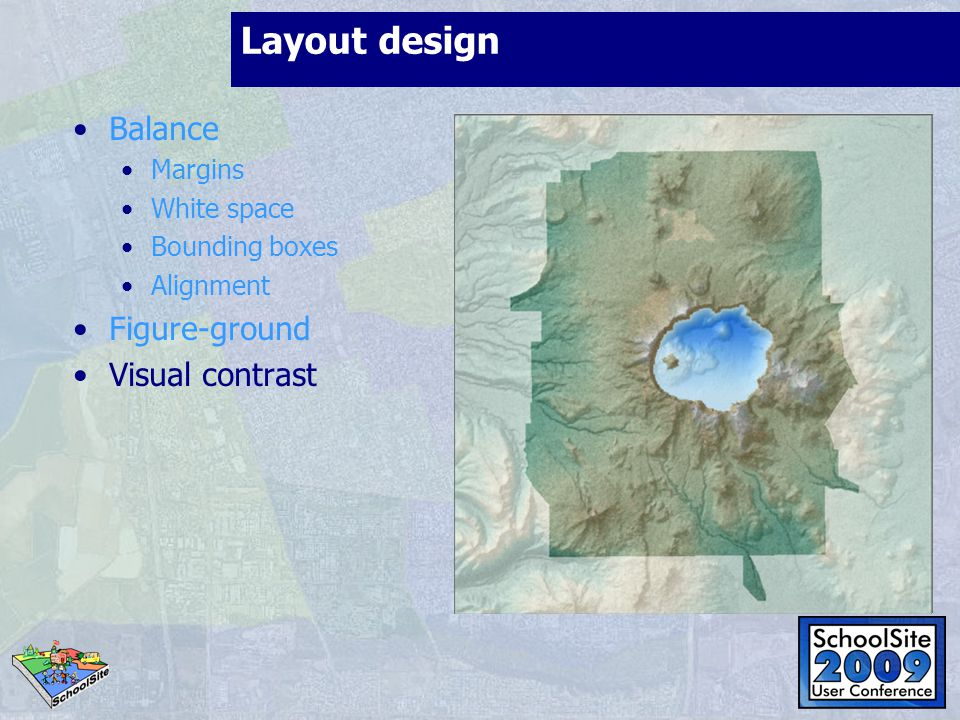 Layout design Balance Margins White space Bounding boxes Alignment Figure-ground Visual contrast