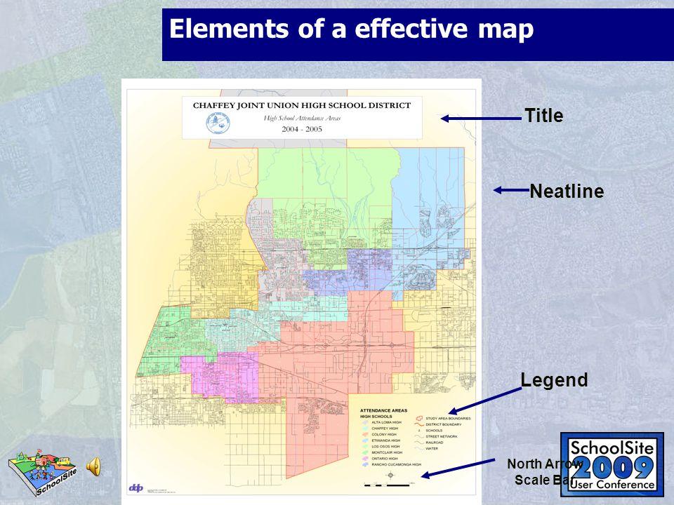 Elements of a effective map Title Neatline Legend North Arrow Scale Bar