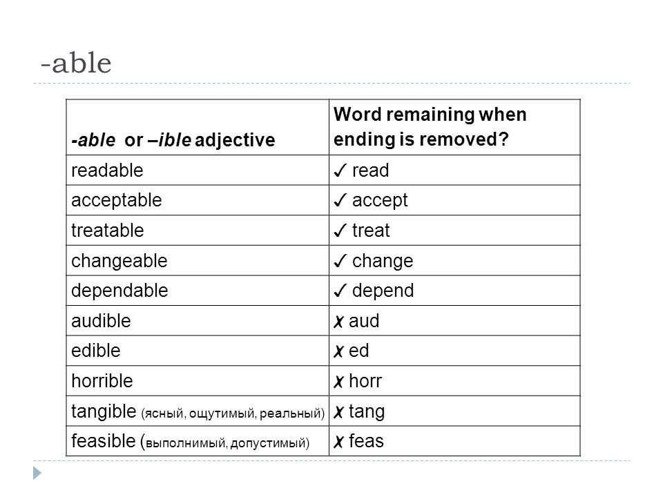 -able -able or –ible adjective Word remaining when ending is removed.