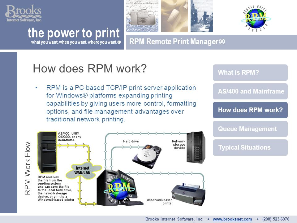 RPM is a PC-based TCP/IP print server application for Windows® platforms expanding printing capabilities by giving users more control, formatting options, and file management advantages over traditional network printing.
