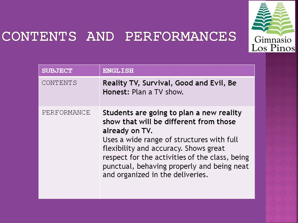 SUBJECTENGLISH CONTENTS Reality TV, Survival, Good and Evil, Be Honest: Plan a TV show. PERFORMANCE Students are going to plan a new reality show that