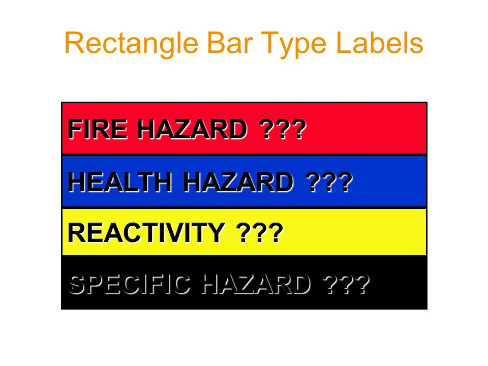Rectangle Bar Type Labels FIRE HAZARD ??? HEALTH HAZARD ??? REACTIVITY ??? SPECIFIC HAZARD ???