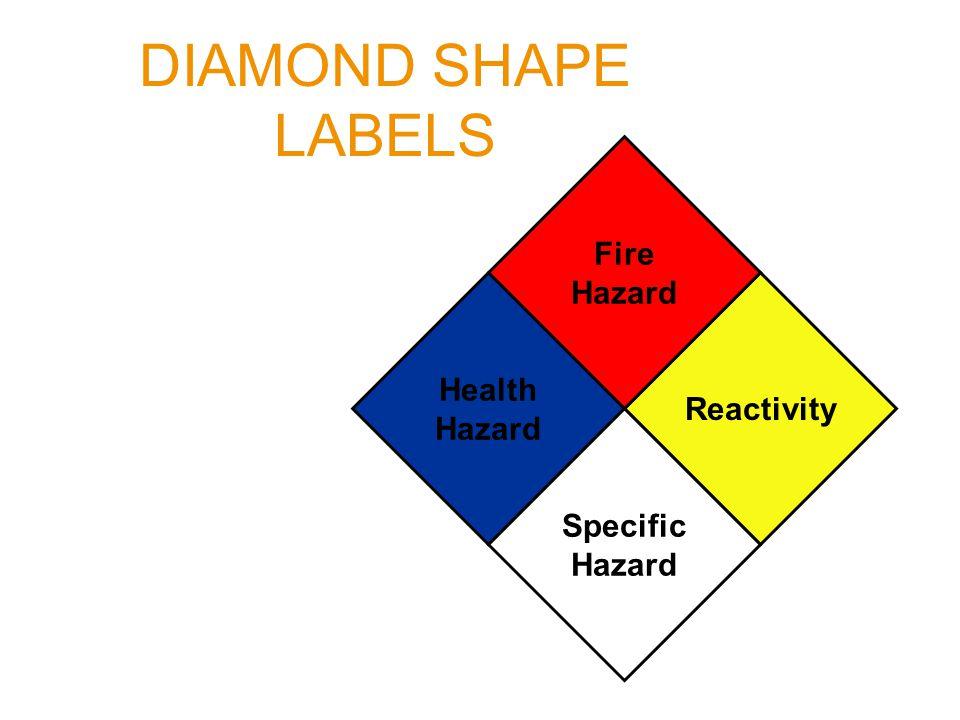 DIAMOND SHAPE LABELS Health Hazard Reactivity Fire Hazard Specific Hazard