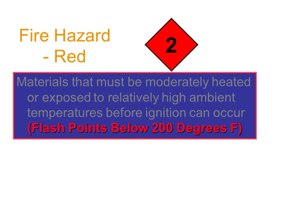 Fire Hazard - Red (Flash Points Below 200 Degrees F) Materials that must be moderately heated or exposed to relatively high ambient temperatures before ignition can occur (Flash Points Below 200 Degrees F) 2