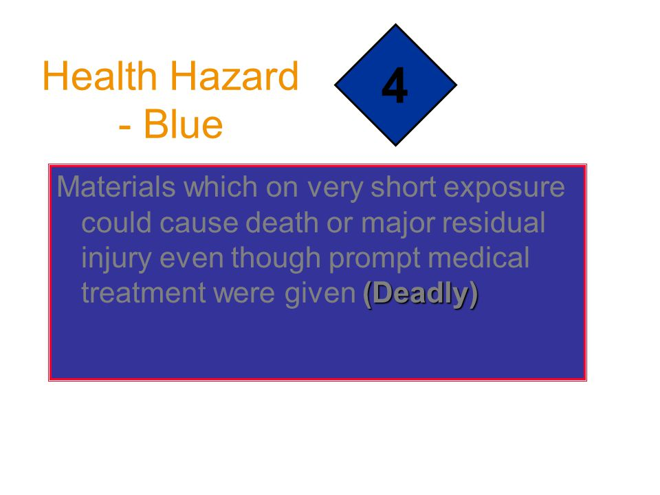 Health Hazard - Blue (Deadly) Materials which on very short exposure could cause death or major residual injury even though prompt medical treatment w