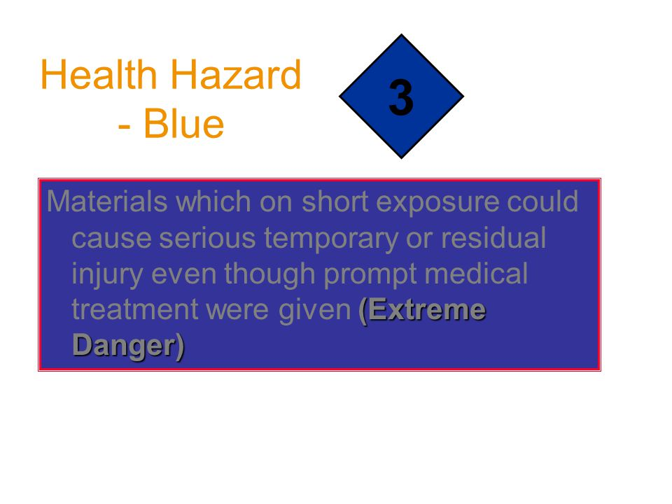Health Hazard - Blue (Extreme Danger) Materials which on short exposure could cause serious temporary or residual injury even though prompt medical treatment were given (Extreme Danger) 3