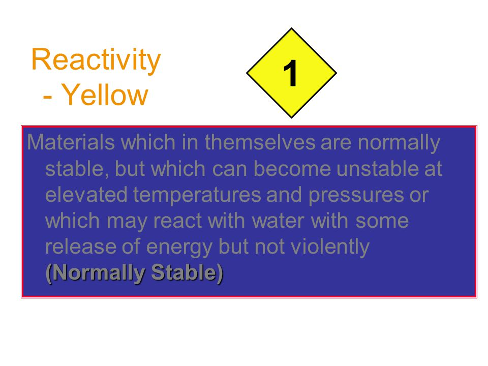 Reactivity - Yellow (Normally Stable) Materials which in themselves are normally stable, but which can become unstable at elevated temperatures and pressures or which may react with water with some release of energy but not violently (Normally Stable) 1