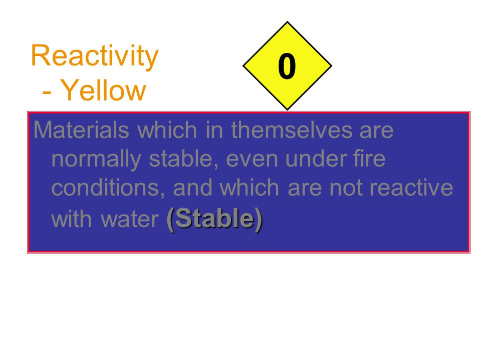 Reactivity - Yellow (Stable) Materials which in themselves are normally stable, even under fire conditions, and which are not reactive with water (Sta