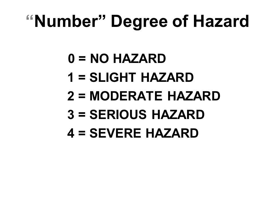 """Number"" Degree of Hazard 0 = NO HAZARD 1 = SLIGHT HAZARD 2 = MODERATE HAZARD 3 = SERIOUS HAZARD 4 = SEVERE HAZARD"