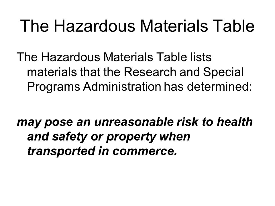 The Hazardous Materials Table The Hazardous Materials Table lists materials that the Research and Special Programs Administration has determined: may pose an unreasonable risk to health and safety or property when transported in commerce.