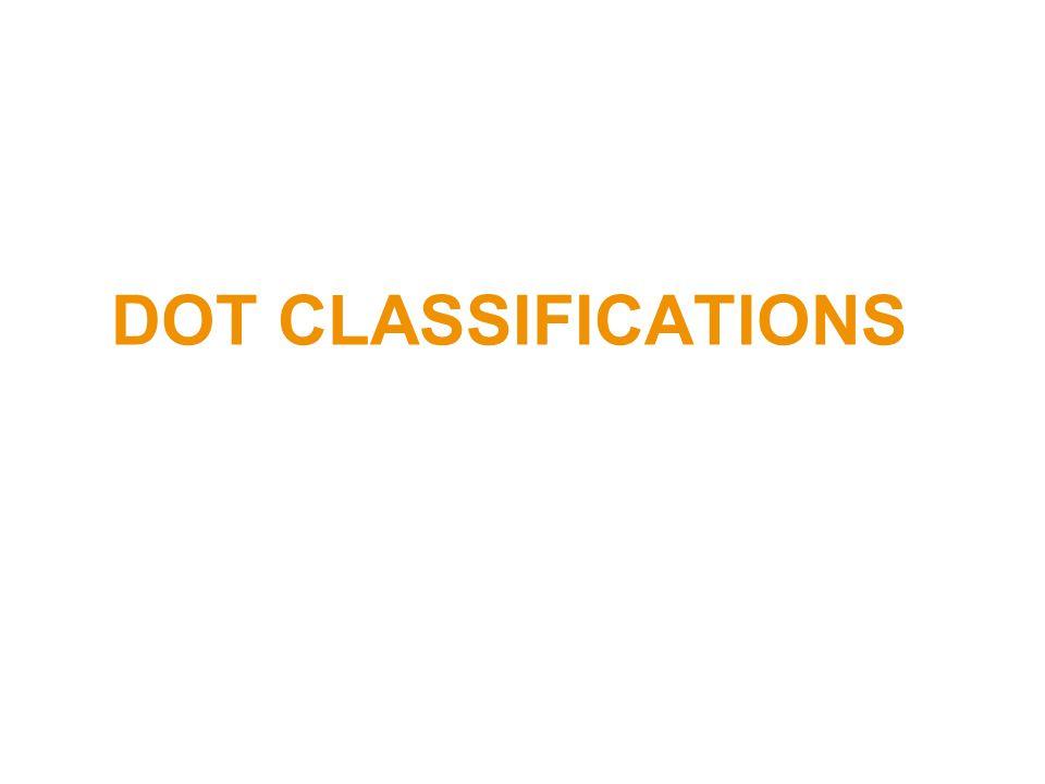 DOT CLASSIFICATIONS