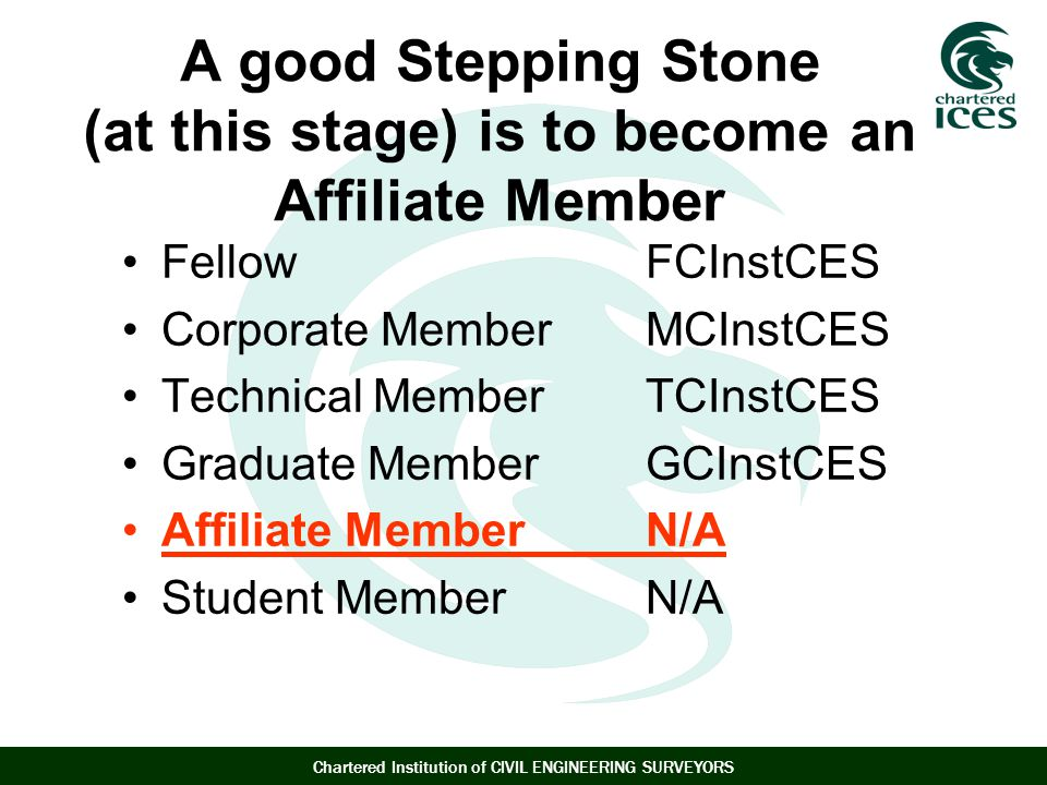 Chartered Institution of CIVIL ENGINEERING SURVEYORS A good Stepping Stone (at this stage) is to become an Affiliate Member FellowFCInstCES Corporate Member MCInstCES Technical MemberTCInstCES Graduate MemberGCInstCES Affiliate MemberN/A Student MemberN/A