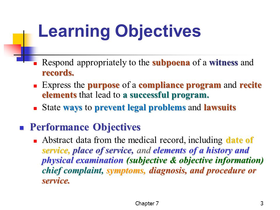 Chapter 73 Learning Objectives subpoena witness records.